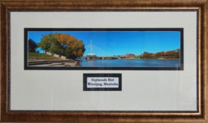 "New Double Matted 5 picture panorama of Esplanade Riel Bridge in Winnipeg. Photo taken by Carl Brownell/Joe-Lynn Design. Printed, matted and framed by Carl Brownell/Joe-Lynn Design. A great buy at $200.00 Firm Print is 22"" x 5 "" (Verona ultra smooth fine art HD 250 - 100% cotton) mounted on foam core in a 26"" x 13"" frame and finished in the back. Ready to hang. Call 204-586-4738 Find more images at www.joe-lynn.com/ We do custom matting and framing as well."