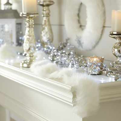 wrap it 'round the tree or drape across the mantel | White Faux Fur Garland - pier1