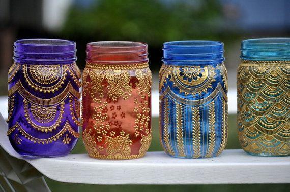 Conjunto de 6 tarro de masón marroquí Bohemia tintado linternas iluminación decoradas con diseños de Henna Party Decor eventos fiestas nupciales de la boda