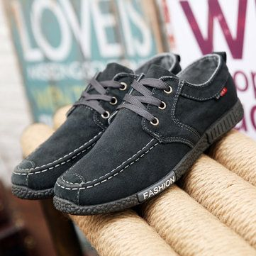 Mens Canvas Cloth Lace Up Flats Breathable Loafers - US$23.99