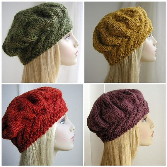 This PDF Pattern will be available to download immediately after purchase.  A flattering style women's hat. This beret knits up quickly in chunky weight yarn. The headband is knitted first to fit the head size. Stitches are then picked up from along the headband edge to make the crown which is knitted in the round on double pointed needles. The pattern includes photo tutorial instructions for the cable stitch.  Yarn Suggestions Louisa Harding Millais 50g x2 balls Sirdar Click Chunky 50g 2…
