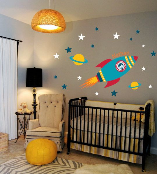 Rocket Wall Decal Boys Name Outer Space Kids Room Custom Nursery Vinyl Wall Decals Stickers Kids Teens Room Removable Decals Stickers