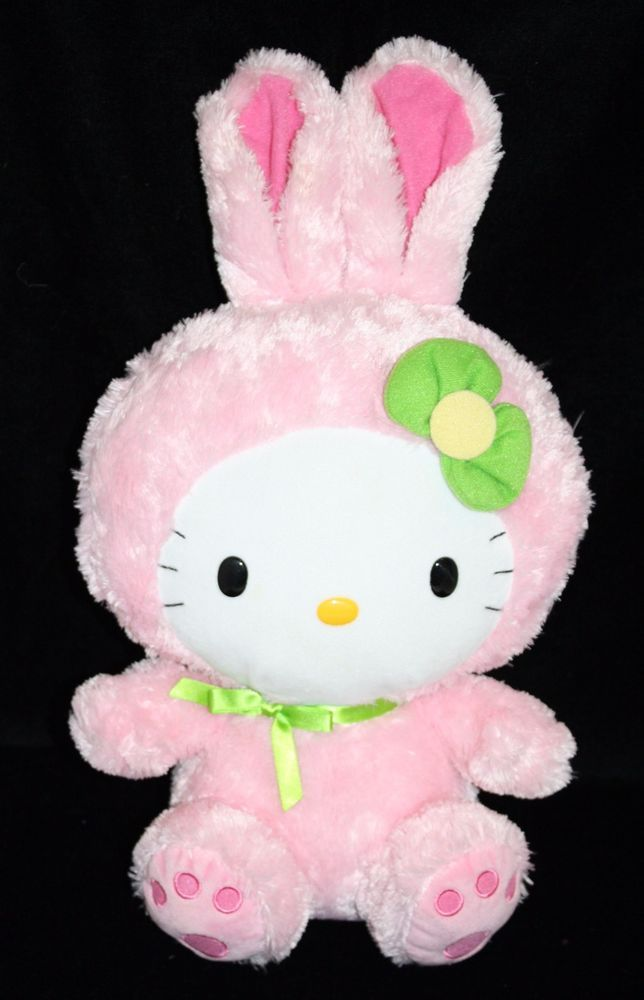 "Ty HELLO KITTY Easter Bunny Pink Green Bow Stuffed 16"" Doll 2011 Sanrio Plush #Sanrio"