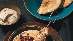Turkish-Spiced Chicken Kebabs with Pomegranate Relish and Tahini Yogurt