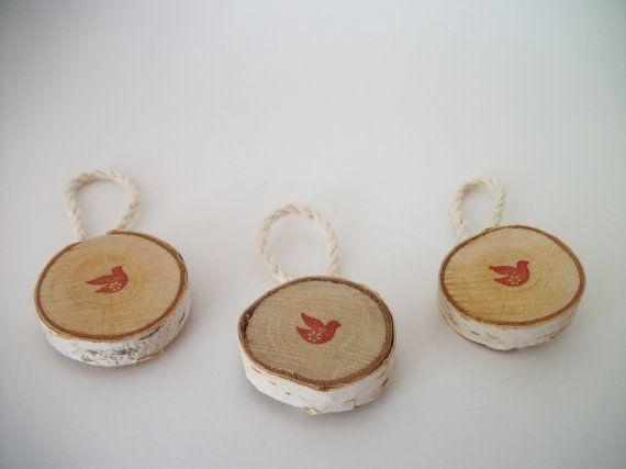 Berken Christmas Bird ornamenten Set van 3 rustieke Kerst