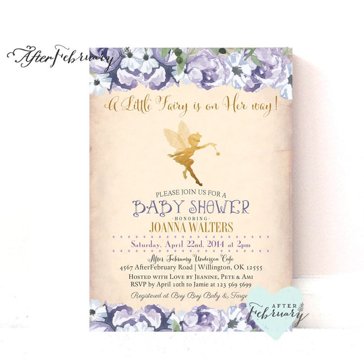 Fairy Baby Shower Invitation  // Enchanted Baby Shower // Lavender and Gold // Vintage Peach Background  // Typography // Printable No.998 #gardenPartyInvitation invitation flower bridal shower bridal shower invite Baby shower baby girl fairy invite fairy invitation fairy invites fairy baby girl fairy baby shower garden fairy party girly 15.00 USD AfterFebruary