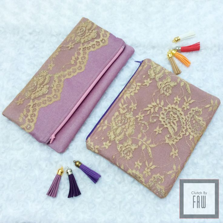 Lace foldover clutch