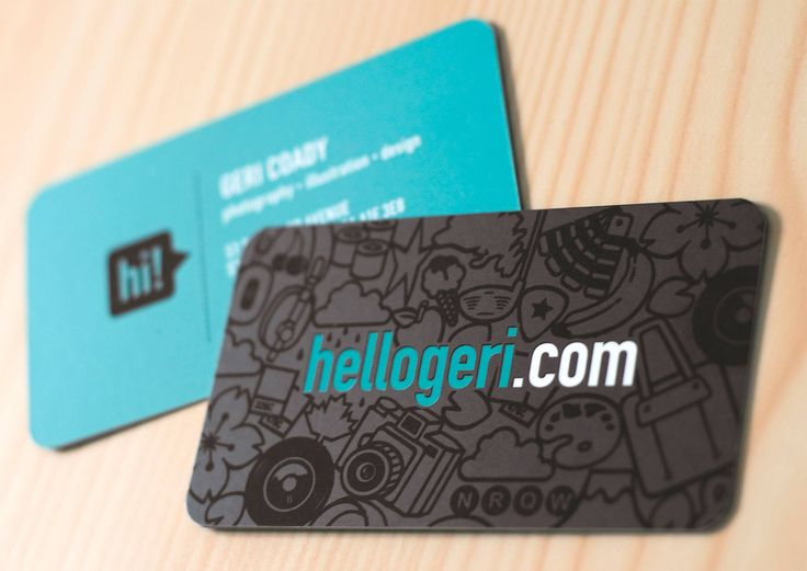 Business card with rounded corners and spot UV (illustrations).