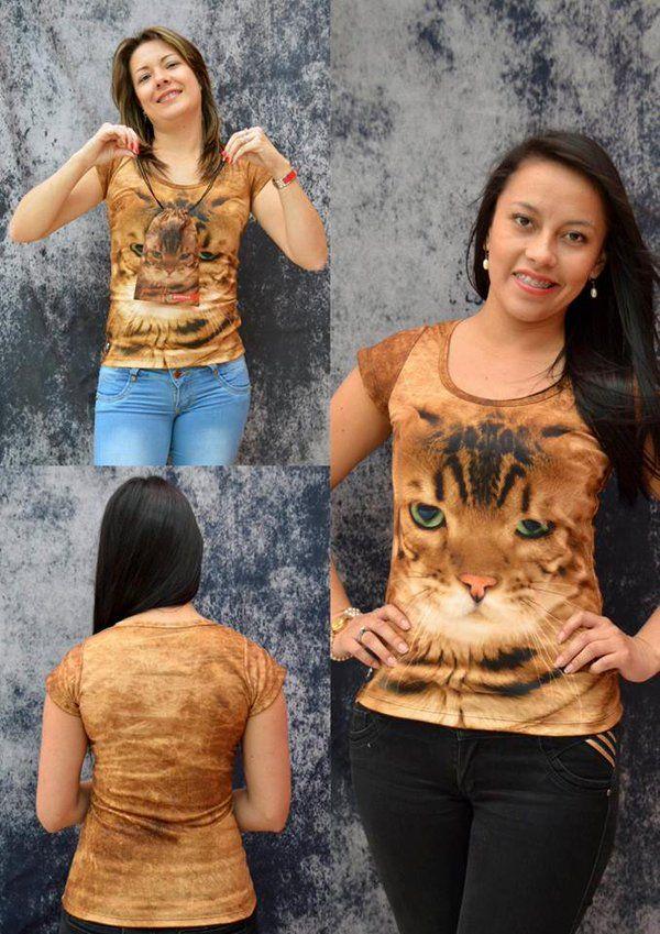 Camiseta Gato bengala- Mujer  Elaborada en %100 poliéster  Precio $ 45.000  Tallas S- M- L Whatsapp 312 393 6893 contacto@subligrafica.com