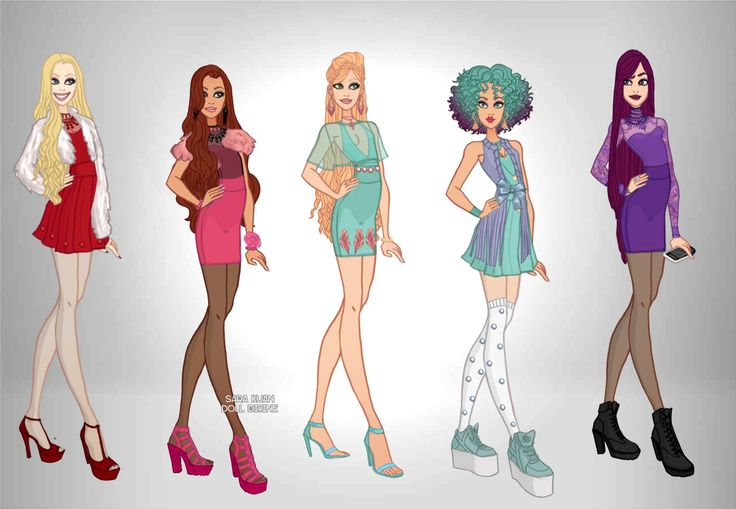 Personagens de Ever After High_1.1 Apple White, Briar Beauty,Ashlynn Ella ,Madeline Hatter & Raven Queen.