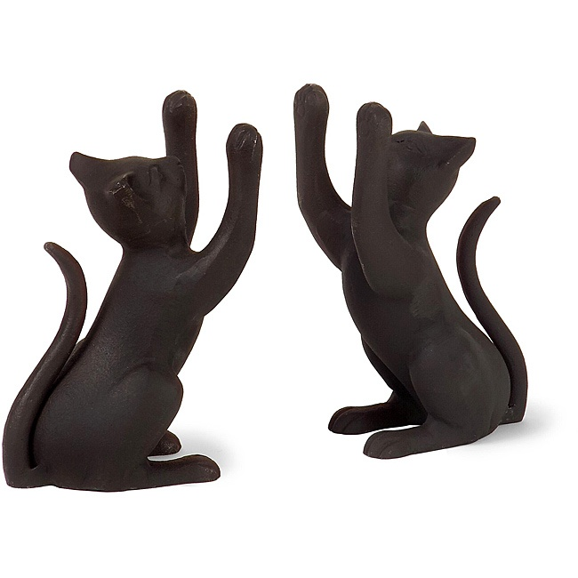 Aluminum Argento Feline Bookends - what a great idea to keep all of our cat book from falling down