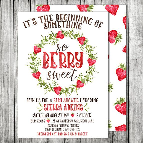 Strawberry Baby Shower Invite - So Berry Sweet Baby Shower Invitation - Farmers Market Baby Shower - 5x7 - JPG (Front and Back Design)