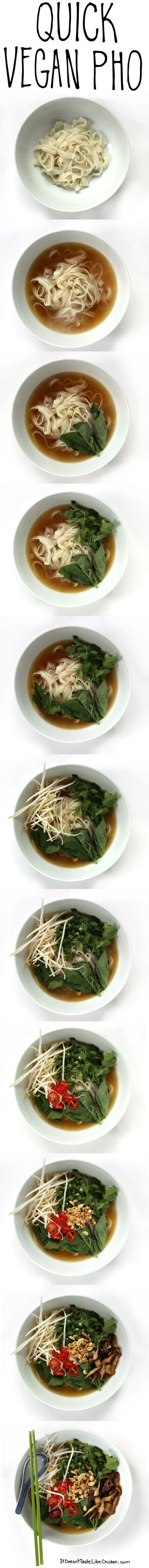 Quick Vegan Pho. 30 minutes to make. Very nutritious. Great for fighting away winter colds! #itdoesnttastelikechicken