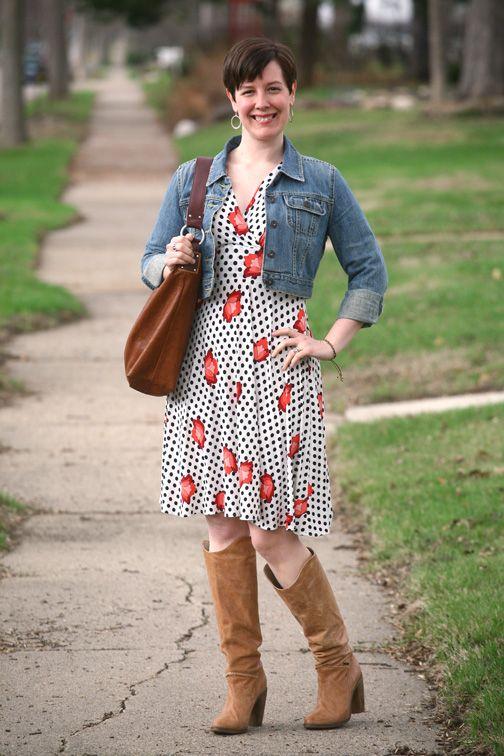 Already Pretty outfit featuring Karina dress, cropped denim jacket, tan Diesel Go-go boots, Ellington Handbags hobo