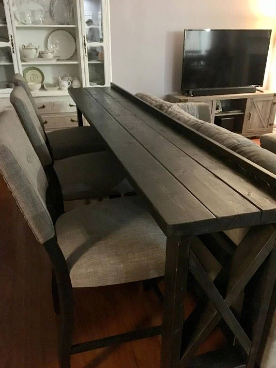 This Sofa Back Bar Table Is A Classy And Smart Way To Add Extra Seating And Dining For Your Guests Even In A Small Diy Sofa Table Home Diy Home Decor Projects