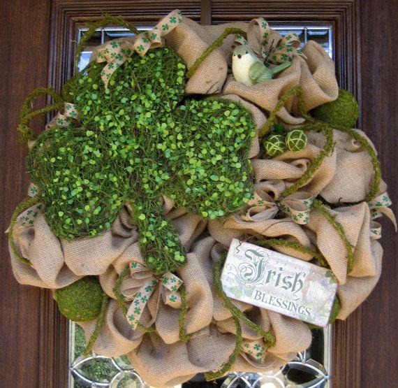 Burlap ST PATRICK'S DAY Wreath by decoglitz on Etsy