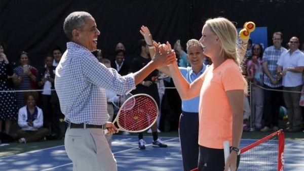 White House Easter Egg Roll 2015: Barack Obama plays tennis with Caroline Wozniacki  Read more: http://www.bellenews.com/2015/04/07/world/us-news/white-house-easter-egg-roll-2015-barack-obama-plays-tennis-with-caroline-wozniacki/#ixzz3WcQ3GA75 Follow us: @bellenews on Twitter | bellenewscom on Facebook