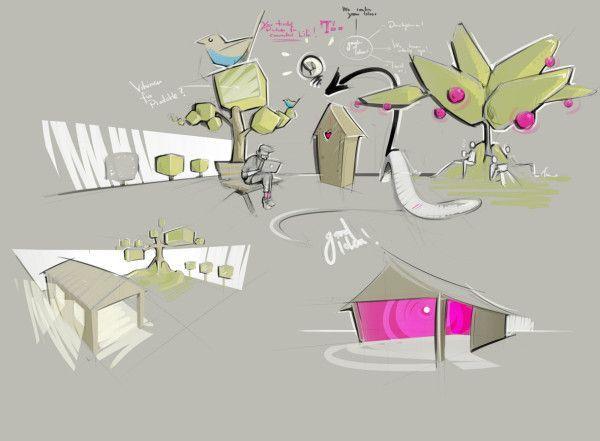 INTERIOR Sketch design, Deutsche telekom, Work inspiration