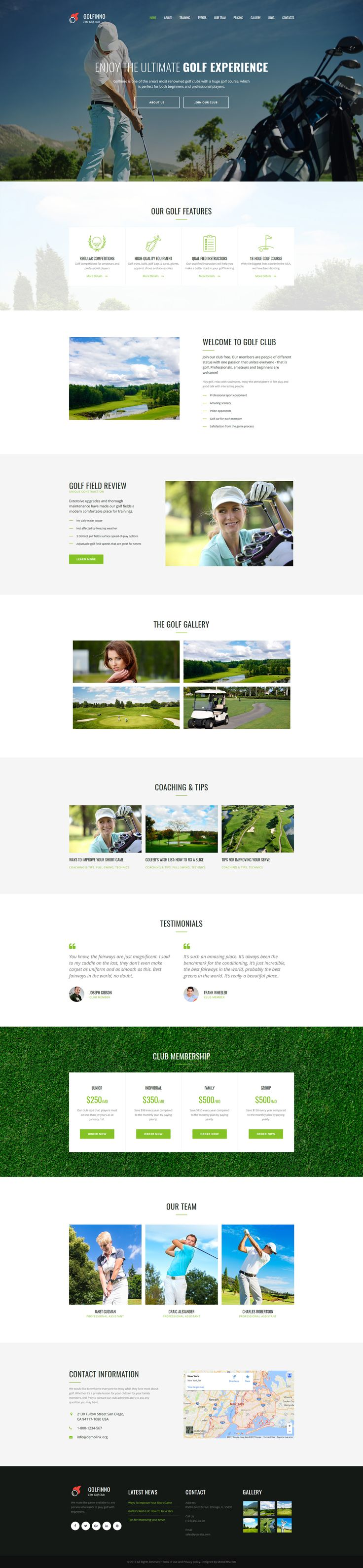 Golf Club Responsive Moto CMS 3 Template