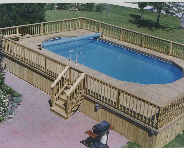 Die besten 25 rechteckiger berirdischer pool ideen auf for Above ground pool decks with bar