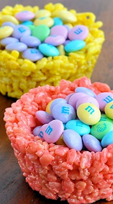Easter Rice Krispies Cups with Pastel M&Ms