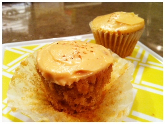 banana cupcakes with salted caramel frosting