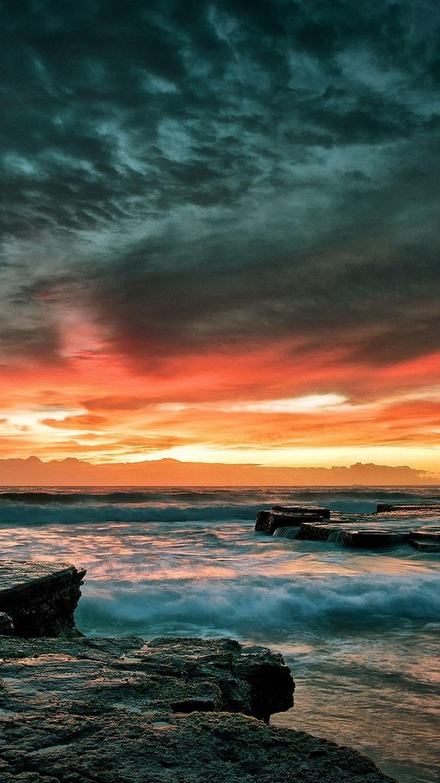 Dramatic Rocky Beach Shore Sunset iPhone 6 Wallpaper