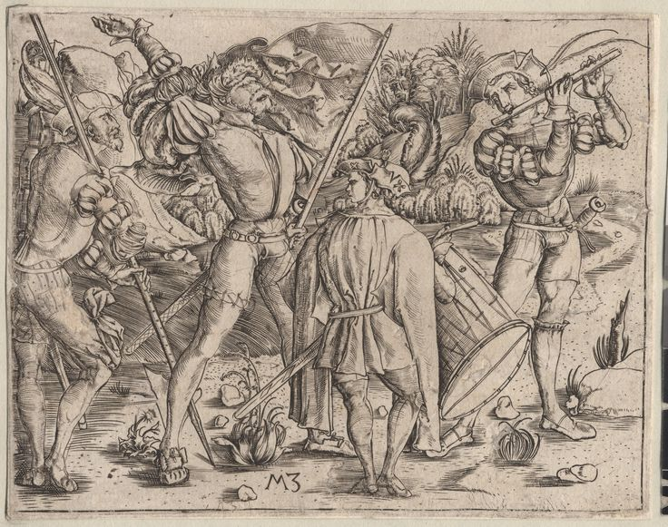 Undated Zasinger, Matthaus (engraver German, Munich, ca. 1477–1525) One of a collection of illustrations of Austrian soldiers. 4 figures, one playing fife, one with drum and two with spears.  Copyright - Anne S.K. Brown Military Collection at Brown University.