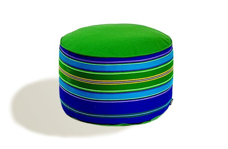 Pufa wełniana folk 60cm zielono-niebieska / FOLKA #ladnerzeczy #targirzeczyladnych #ladnerzeczydziejasiewinternecie #polishdesign #design #folk #folkart
