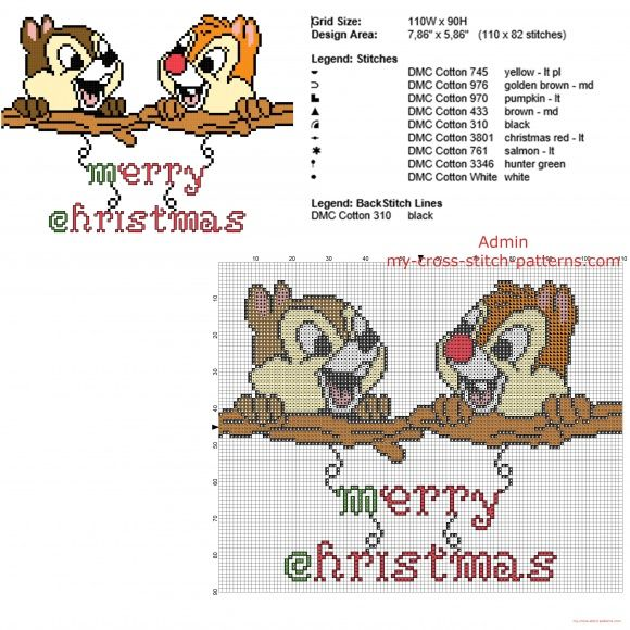 Chip 'n' Dale with text Merry Christmas free cross stitch pattern