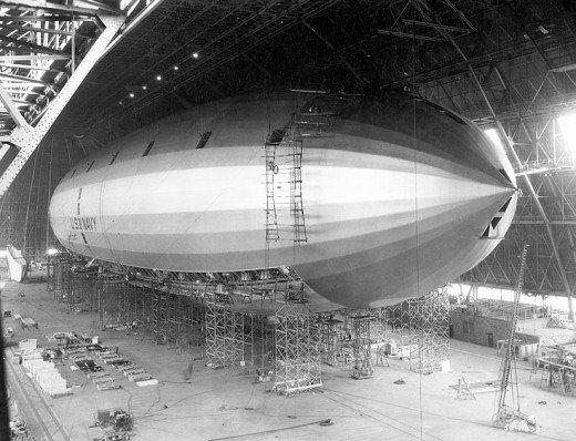 U.S.S. Macon airship under construction in Akron,Ohio