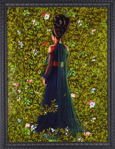 "Princess Victoire of Saxe-Coburg-Gotha, 2012 Oil on linen 96"" x 72""  -Kehinde Wiley Studio"