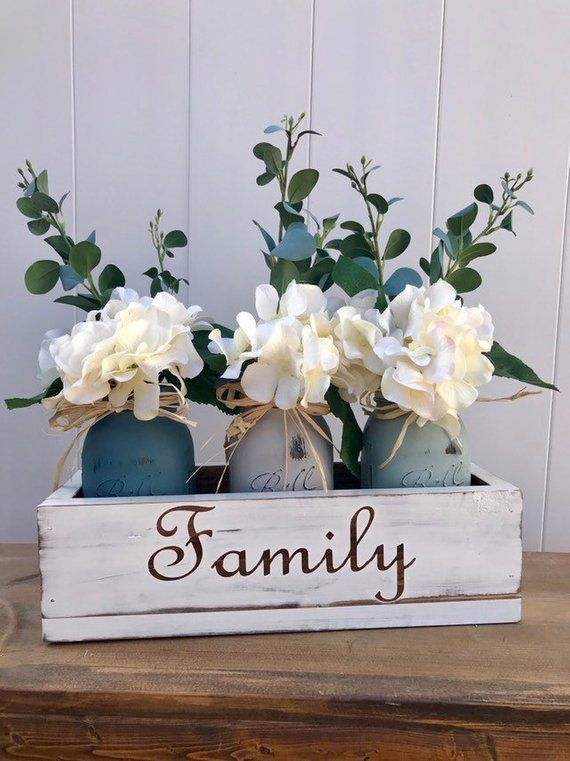 Centerpieces For Dining Table Mason Jar Centerpiece Rustic Home Decor Farmh Dining Table Centerpiece Dining Room Table Centerpieces Table Centerpieces For Home