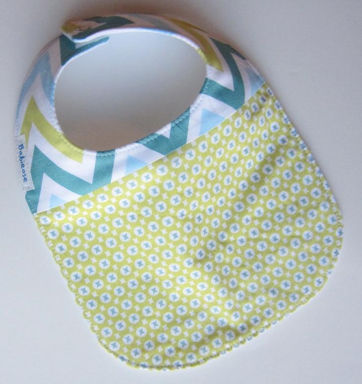 Baby BOYS or GIRLS Bib, Little Chevron Baby, Designer fabric