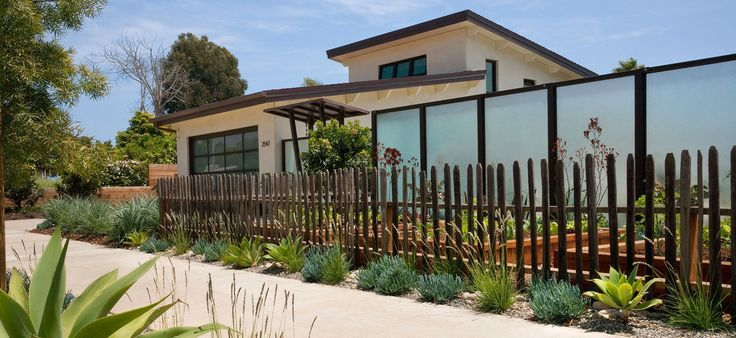grape stake fence - glass fence - modern fence - contemporary fence - drought tolerant plantings - front yard veggie garden - privacy fence -