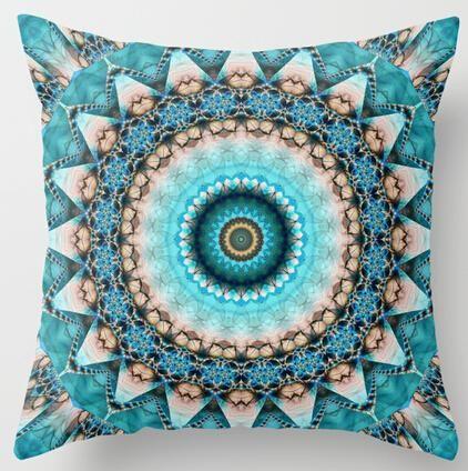 Mandala Precious Stone Turquoise Kaleidoscope Luxury 18x18 inch Soft Glossy Throw Pillow Case Pillowcase Cover (twin sides)
