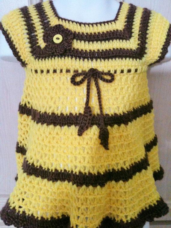 Crochet baby dress with matching headband por FAYSFABULOUSCROCHET, $30,00