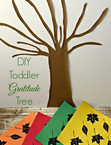 Easily teach toddlers and preschoolers about being thankful with a DIY Gratitude Tree + free printable fall leaves template #SimplyHealthy #ad