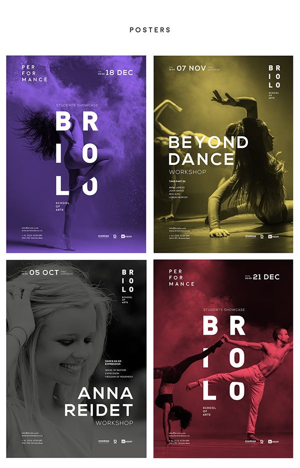 Briolo – a modern school of art, the main focus of which is the dance training. Here offers beginning to advanced classes for students of all ages in ballet, jazz, modern, theater, hip hop and more. For the advertising campaign was created posters which s…