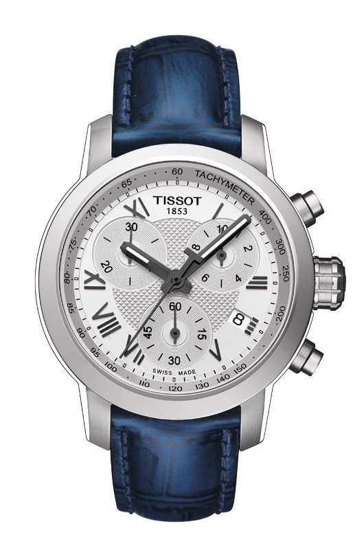 A classic sporty timepiece that nevertheless stands out from the crowd with its screw-down back and crown and its water-resistance of up to a pressure of 20 bar (200 m / 660 ft), the new Tissot PRC 200 Quartz Chrongraph Lady models are elegant timepieces for women with chronograph time, tachymeter and date, plus the Super-LumiNova® hands. Shown here with blue leather strap and silver chrono dial.