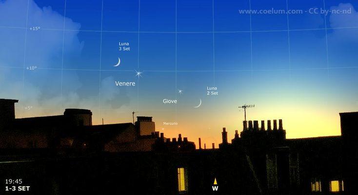 1-3 settembre 2016. Ultimi sguardi a Giove e Venere. In queste sere le ultime occasioni per scorgerli in suggestive configurazioni nel crepuscolo della sera, affiancati da una sottile falce di Luna crescente. #Giove e #Venere infatti, per il mese di settembre (il primo in congiunzione eliaca e il secondo comunque ancora troppo vicino al Sole), saranno inosservabili o visibili con difficoltà.  #astrofotografia #astronomia #cielodelmese