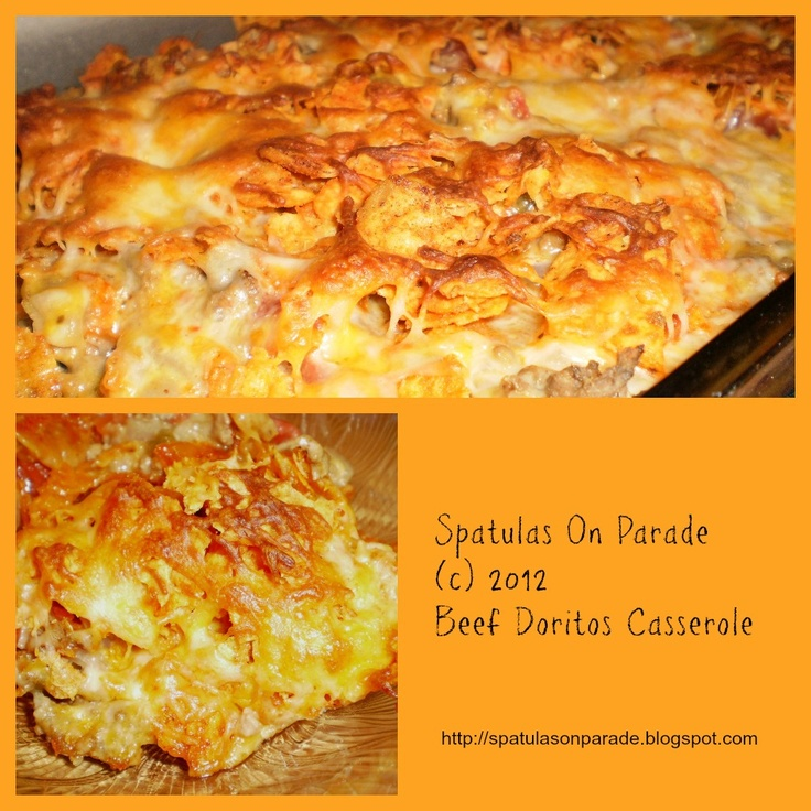 Beef Doritos Casserole - I added a can of drained corn and topped with sour cream out of the oven.  Good stuff!