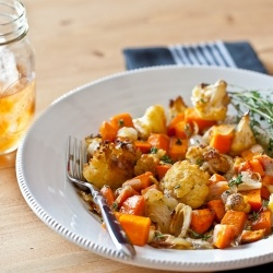 Roasted veggies with spiced and browned butter