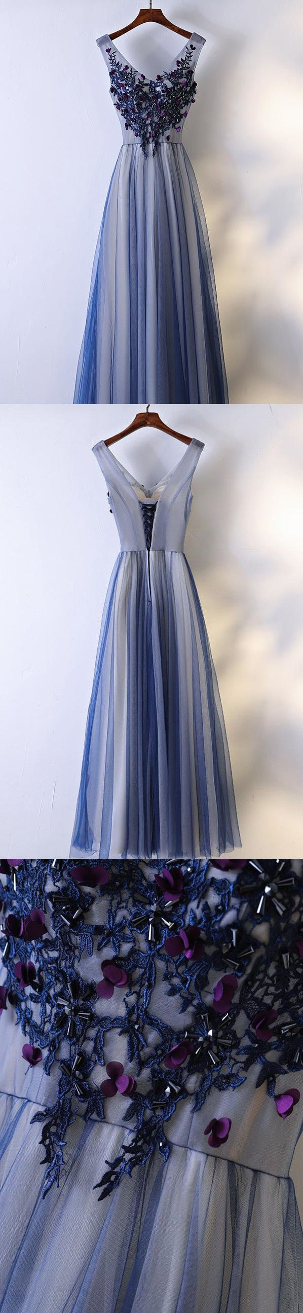 A-line V-neck Floor-Length Tulle Appliqued Beaded Prom Dresses ASD26882 #promdresses #vintage #country #applique #beaded