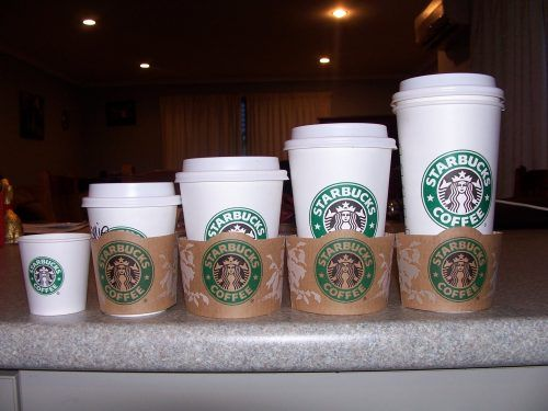 Artistic Starbucks Coffee Wallpaper With Various Cup Size Coffee