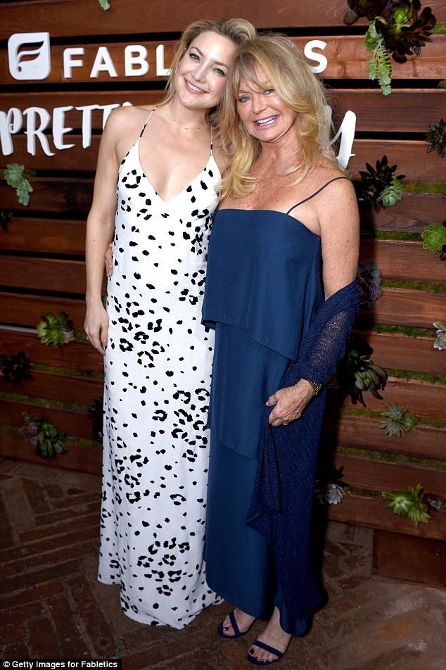 Overboard: Goldie is the mother to 37-year-old actress Kate Hudson (pictured February)