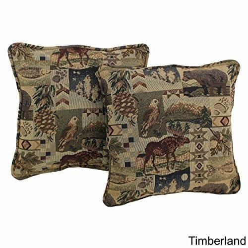 18x18 Beige Southwestern Throw Pillows Geometric Tribal Pattern Southwest Rustic Country Themed Pillow Square Deer Moose Eagle Hunting Cabin Lodge