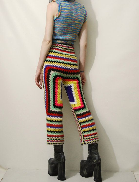 ☩RAINBOW CROCHET PANTS Handmade by Crux and Crow Constructed from a 70s vintage wool blanket Thick super warm wool crochet Slim tight fit upper with