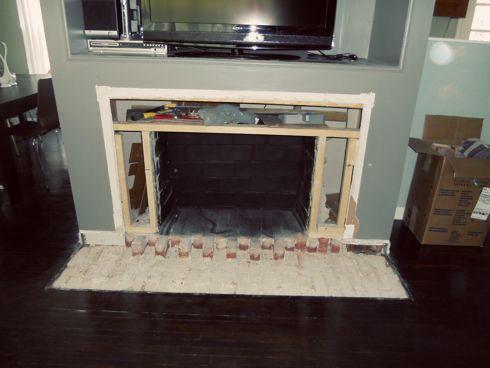 Removing fireplace hearth | I <3 DIY | Pinterest | Brick hearth ...