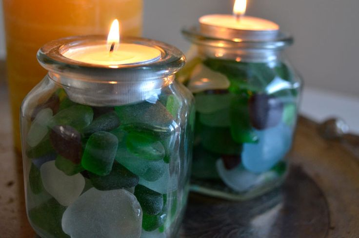 Sea glass tealights--I'd put less glass in and have candles deeper to help show off colors of sea glass